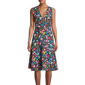 NWT Tahari Jila Black Floral Fit & Flare Dress Sz0